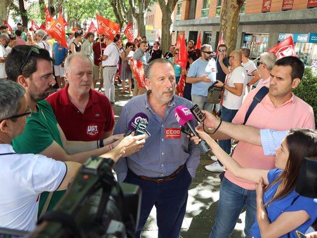 Los responsables de CCOO y UGT en Guadalajara atienden a los medios