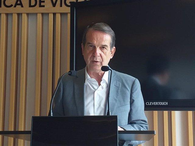 Abel Caballero, alcalde de Vigo, en una rueda de prensa en el Consorcio de Zona Franca.