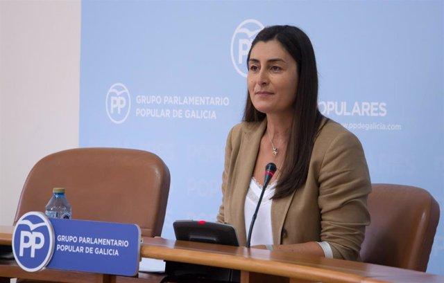 La viceportavoz del grupo parlamentario del PPdeG, Marta Rodríguez, en rueda de prensa