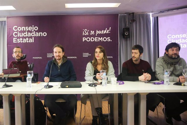 Pablo Echenique, Pablo Iglesias, Noelia Vera, Juan Manuel del Olmo y Rafa Mayoral