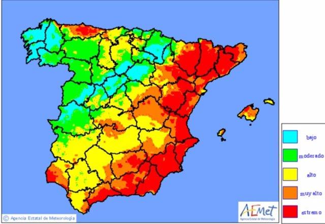 Mapa de niveles de riesgo de incendio previstos en Península y Baleares para el 10 de agosto