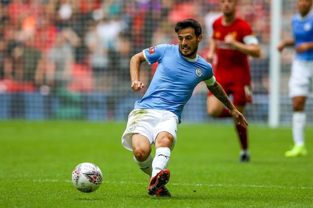Manchester City midfielder David Silva (21) on the ball during the FA Community Shield match between Liverpool and Manchester City at Wembley Stadium, London, England on August 4, 2019 - Photo Nigel Keene / ProSportsImages / DPPI