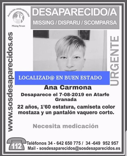 Localizada en buen estado la joven desaparecida desde mediados de semana en Atarfe (Granada)