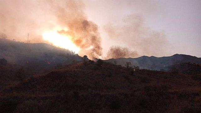 Incendio en el paraje de la Virreina de Málaga