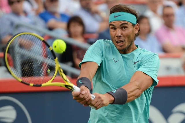 09 August 2019, Canada, Montreal: Spanish tennis player Rafael Nadal in action against Italian tennis player Fabio Fognini during their men's singles quarter final tennis match of the Rogers Cup Montreal tennis tournament. Photo: Christopher Levy/ZUMA Wir