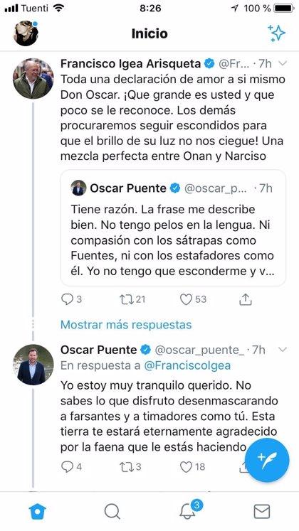 """Puente tacha a Igea de """"timador y farsante"""" y éste ironiza sobre su """"elegancia"""" en Twitter"""