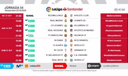 LaLiga modifica los horarios de la cuarta jornada de LaLiga Santander