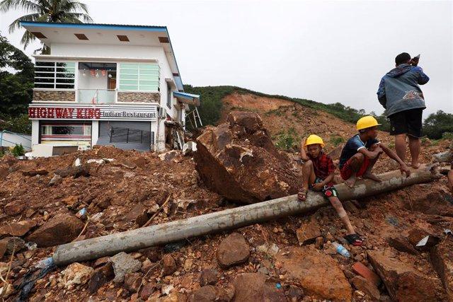 Corrimiento de tierras en Mottama, Birmania