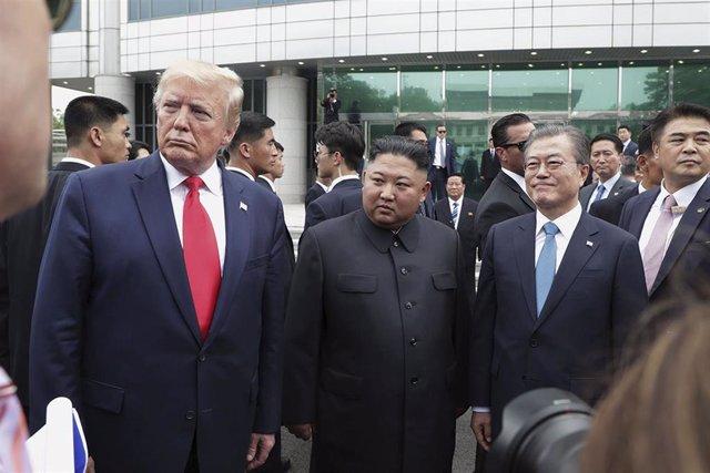 Donald Trump, Kim Jon Un y Moon Jae In