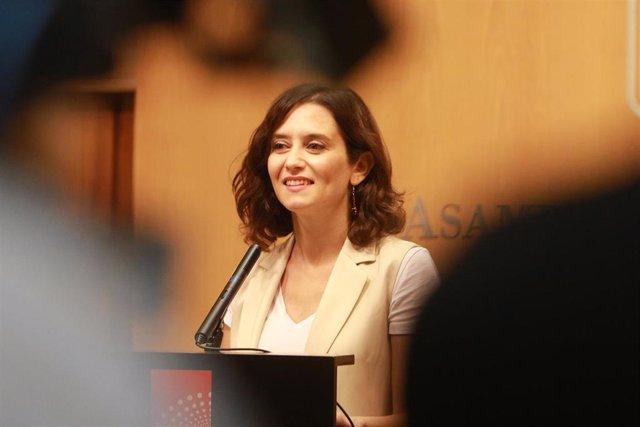 Imagen recurso de la candidata del PP a la Presidencia de la Comunidad de Madrid, Isabel Díaz Ayuso, en la Asamblea de Madrid