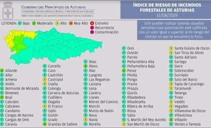 El riesgo de incendios forestales es 'alto' en 12 municipios del occidente asturiano este domingo