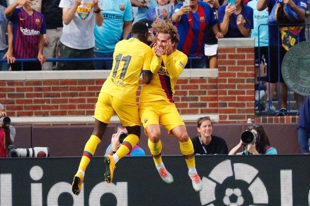 Griezmann y Dembélé amb el FC Barcelona