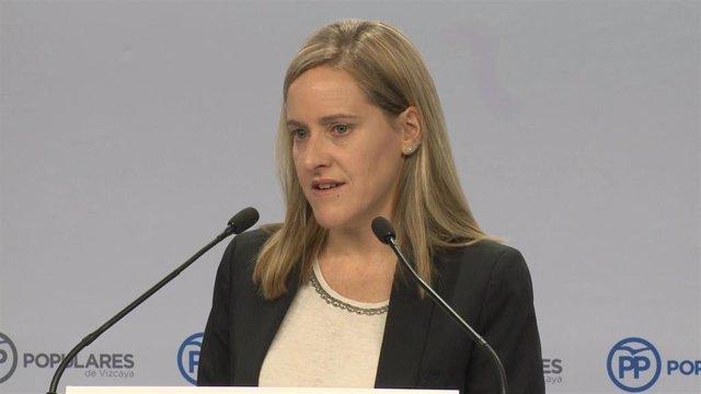 La secretaria general del PP vasco, Amaya Fernández, en una rueda de prensa en Bilbao