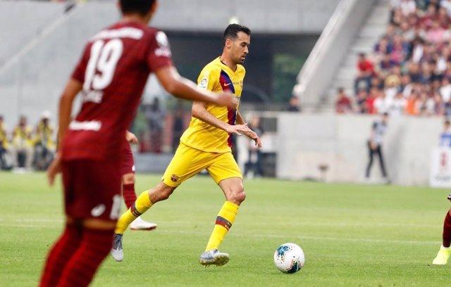 Sergio Busquets, en un partido con el FC Barcelona