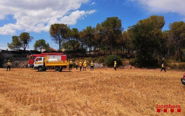 Bombers de la Generalitat dóna per controlat un incendi forestal en Torre de Claramunt (Barcelona).