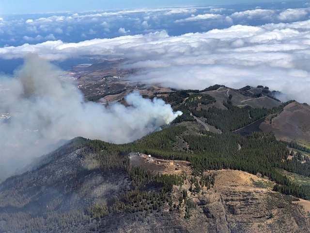 Imagen aérea del incendio de Artenara