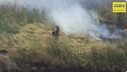 Bomberos de madrid evitando un incendio de pastos en la Cañada Real