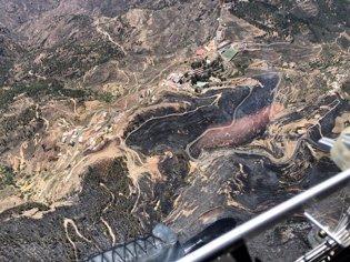 Imagen aérea de la superficie quemada por el incen