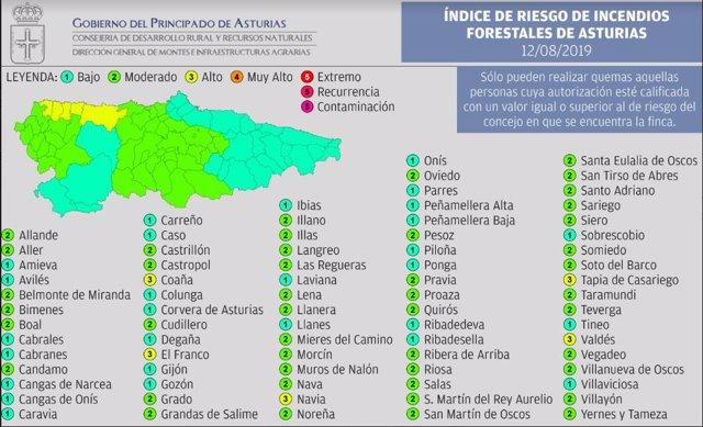 Índice De Riesgo De Incendios Forestales En Asturias Para Este Lunes 12 De Agosto.