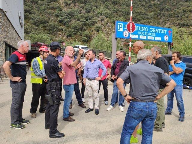 El jefe del Govern d'Andorra, Xavier Espot, visita la CG1 afectada por un desprendimiento