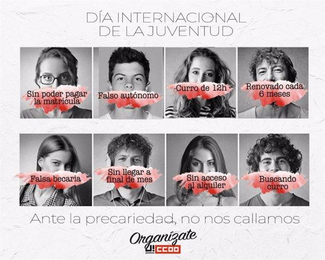 Cartel de CCOO con motivo del Día Internacional de la Juventud