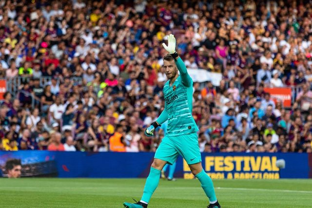Neto, #13 of Fc Barcelona during the Joan Gamper Trophy match between  FC Barcelona  and Arsenal FC at Camp Nou stadium, in Barcelona, Spain, on August 04, 2019.