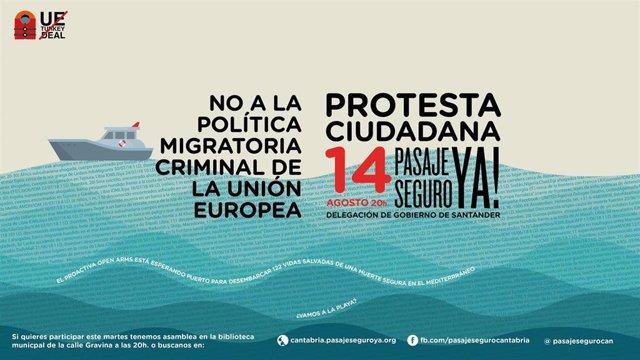 Carte de la concentración convocada por Pasaje Seguro Cantabria en apoyo a la labor del 'Open Arms' y  el 'Oceaan Viking'