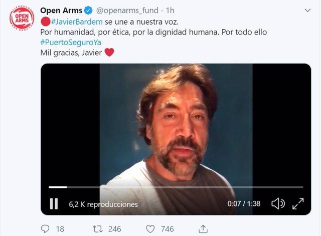 Vídeo de Javier Bardem de apoyo al Open Arms publicado en Twitter por la ONG