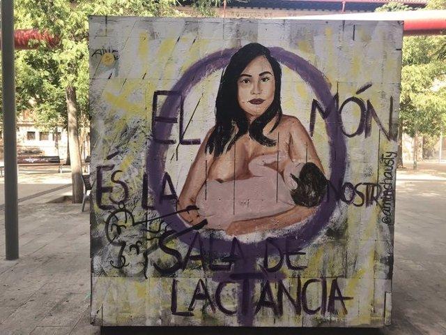 La pintada en el mural.