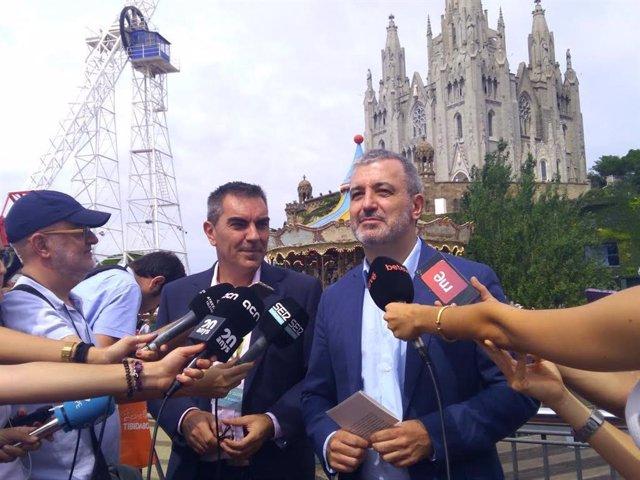 Jaume Collboni en declaracions als mitjans en el Tibidabo