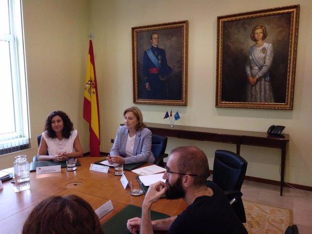 La delegada del Gobierno en Asturias, Delia Losa, antes del inicio del encuentro del Día de la Juventud.