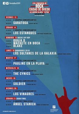 """Cartel del 22 Concurso de Rock Ciudad de Oviedo Alejandro Blanco """"Espina"""" ."""