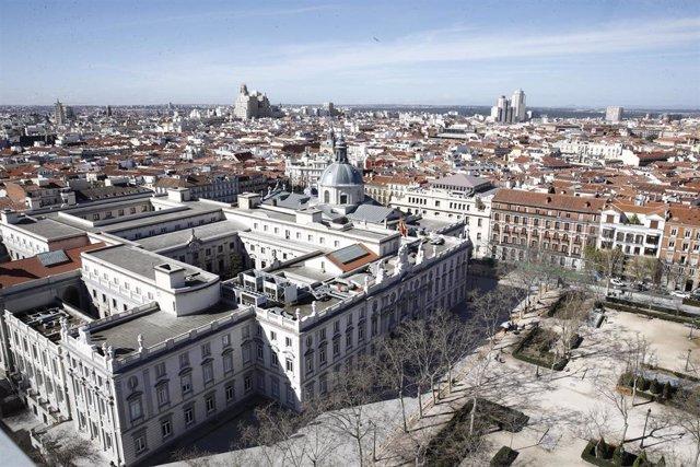 Imagen de recurso del edificio del Tribunal Supremo desde la Torre Colón de Madrid.