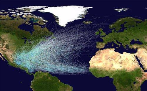 Rutas seguidas por los huracanes en el Atlántico norte
