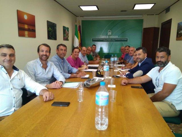 Reunión de la viceconsejera de Agricultura y el director general de Pesca con las cofradías de pescadores de la provincia de Málaga.