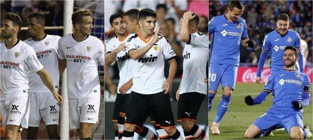 Sevilla, Valencia y Getafe