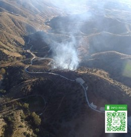 Incendio en un paraje forestal de Pizarra (Málaga)