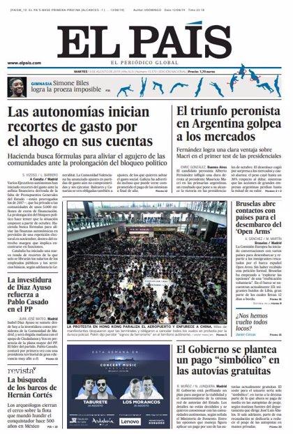 Las portadas de los periódicos del martes 13 de agosto de 2019