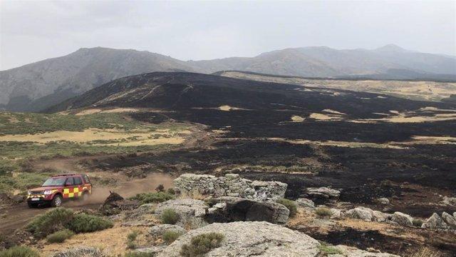 Imagen de una zona afectada por el incendio de Miraflores de la Sierra y Rascafría