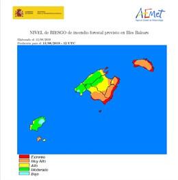 Mapa del nivel de riesgo por incendio en Baleares.