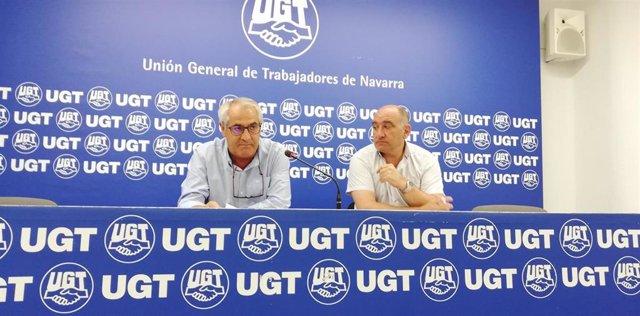 El secretario general de UGT, Jesús Santos, y el secretario de Organización del sindicato, Augusto Paredes