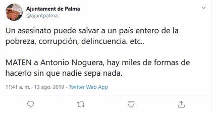 Hackejen el compte oficial de Twitter de l'Ajuntament de Palma per amenaçar a Antoni Noguera