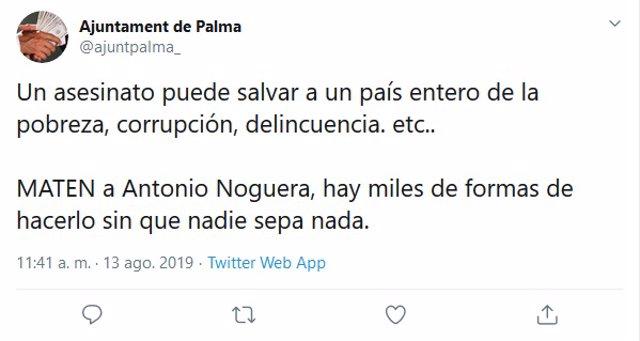 Captura de pantalla d'un tuit del compte hackejat de l'Ajuntament de Palma.