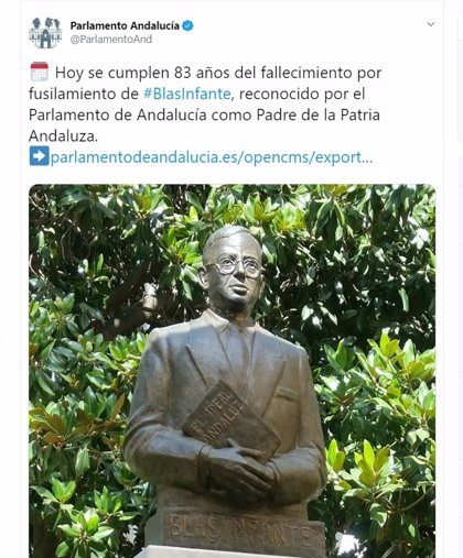 """El Centro de Estudios Históricos pide al Parlamento una norma para impedir """"atropellos"""" como el tuit sobre Blas Infante"""
