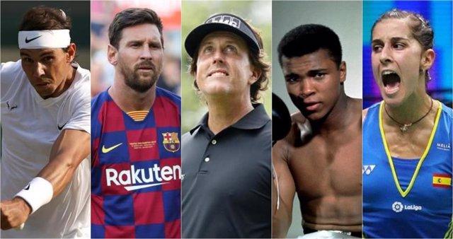 Rafa Nadal, Leo Messi, Phil Mickelson, Muhammad Ali y Carolina Marín