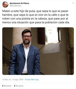 El compte de l'Ajuntament de Palma ha estat hackejat.