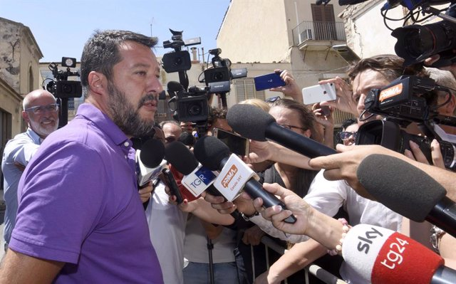 12 August 2019, Italy, Vittoria: Italian Minister of the Interior Matteo Salvini speaks to the media after visiting the site of the road accident that caused the death of two children. Photo: Stefano Cavicchi/LaPresse via ZUMA Press/dpa