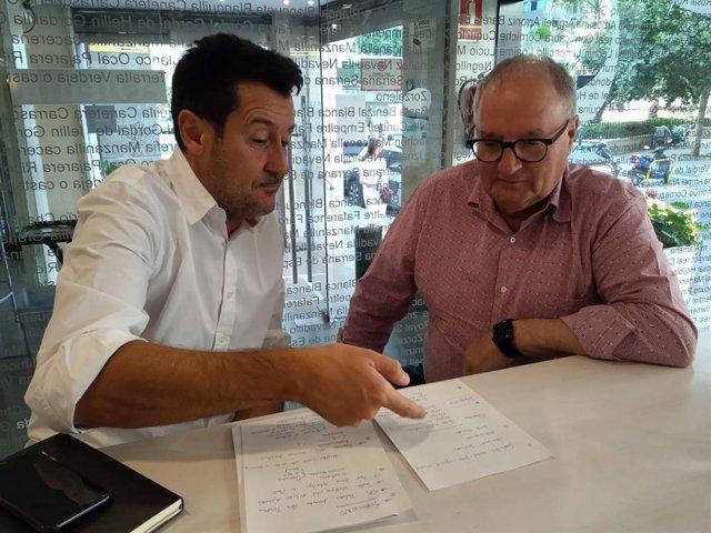 Reunión del senador socialista Alejandro Zubeldia y el presidente de los hosteleros, Gregorio García