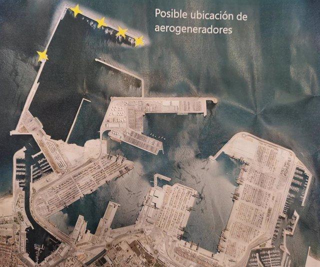 Esquema con la posible ubicación de los aerogeneradores
