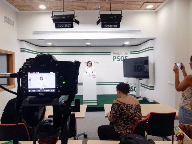 Rosa Aguilar, en rueda de prensa en Almería